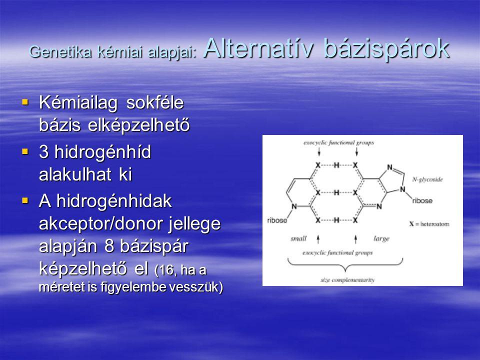 Genetika kémiai alapjai: Alternatív bázispárok  Kémiailag sokféle bázis elképzelhető  3 hidrogénhíd alakulhat ki  A hidrogénhidak akceptor/donor je