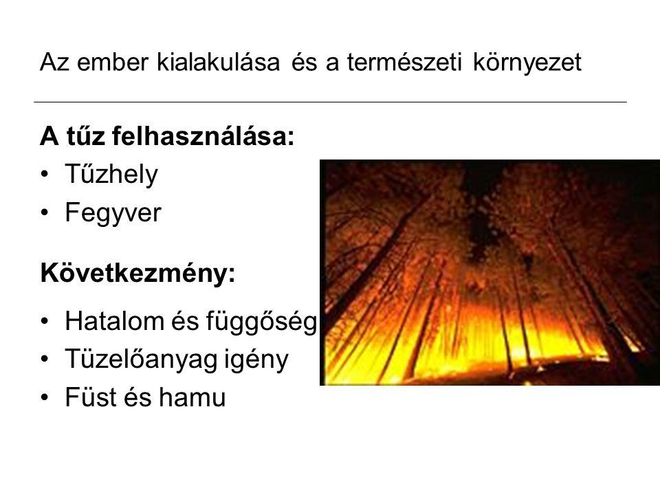 Az ember kialakulása és a természeti környezet A tűz felhasználása: Tűzhely Fegyver Következmény: Hatalom és függőség Tüzelőanyag igény Füst és hamu
