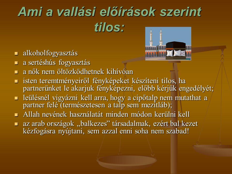 Ami a vallási előírások szerint tilos: alkoholfogyasztás alkoholfogyasztás a sertéshús fogyasztás a sertéshús fogyasztás a nők nem öltözködhetnek kihí