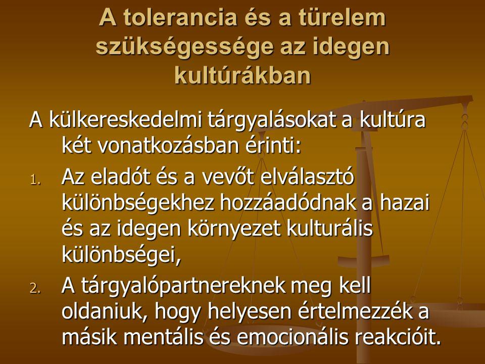 A tolerancia és a türelem szükségessége az idegen kultúrákban A külkereskedelmi tárgyalásokat a kultúra két vonatkozásban érinti: 1. Az eladót és a ve