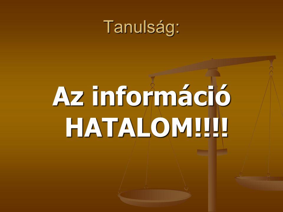 Tanulság: Az információ HATALOM!!!!