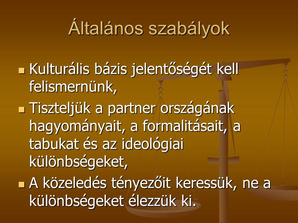 Általános szabályok Kulturális bázis jelentőségét kell felismernünk, Kulturális bázis jelentőségét kell felismernünk, Tiszteljük a partner országának