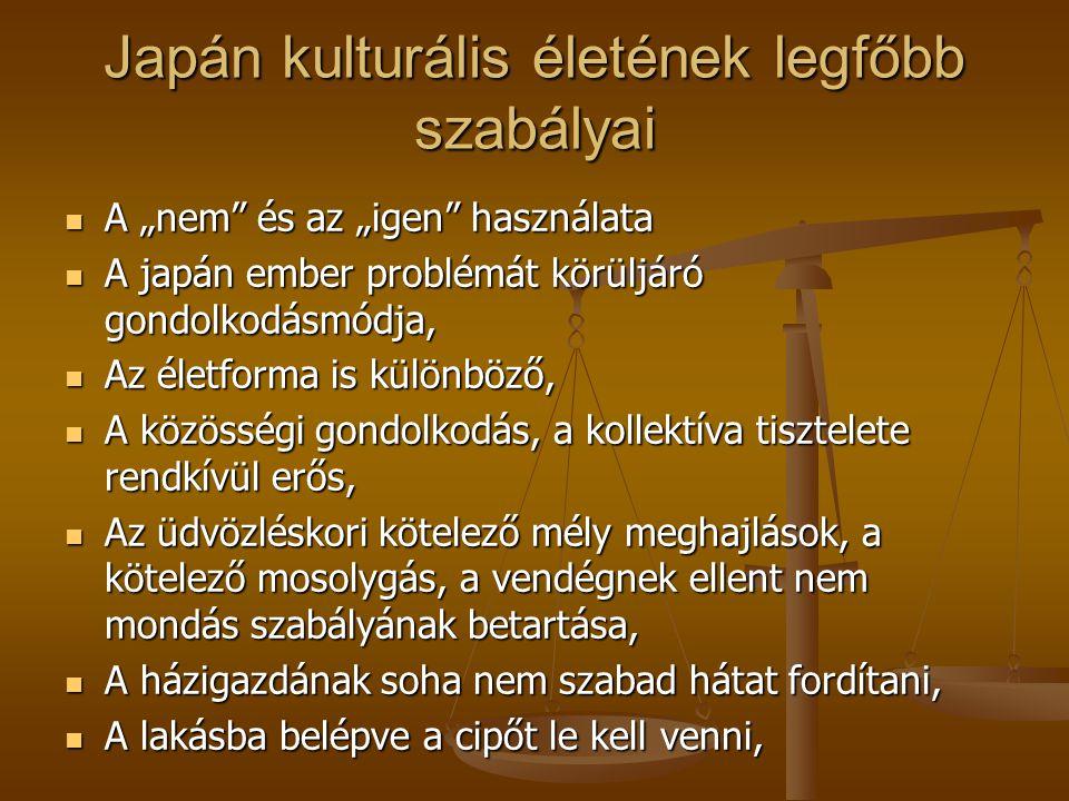 """Japán kulturális életének legfőbb szabályai A """"nem"""" és az """"igen"""" használata A """"nem"""" és az """"igen"""" használata A japán ember problémát körüljáró gondolko"""
