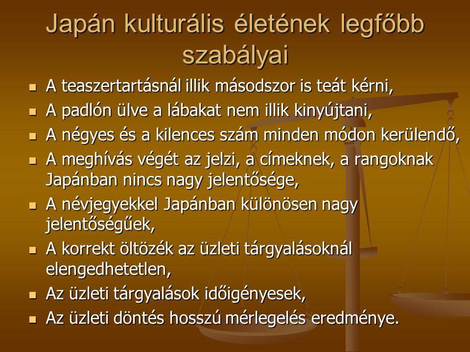 Japán kulturális életének legfőbb szabályai A teaszertartásnál illik másodszor is teát kérni, A teaszertartásnál illik másodszor is teát kérni, A padl