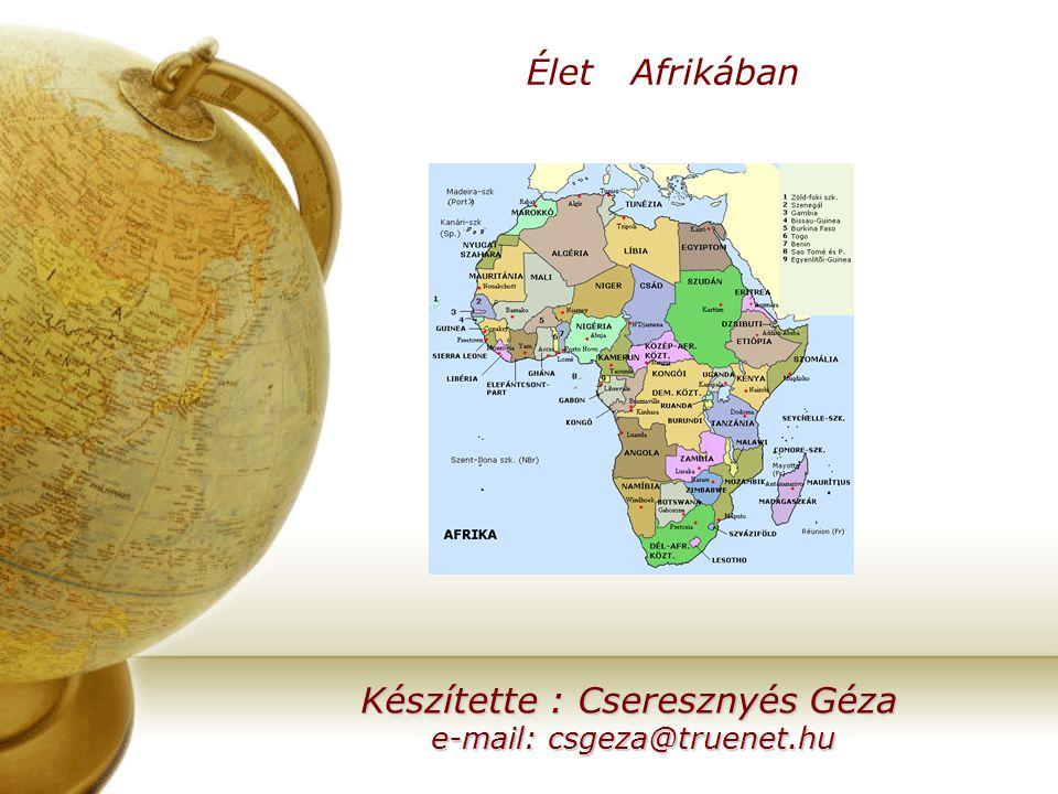 Élet Afrikában Készítette : Cseresznyés Géza e-mail: csgeza@truenet.hu e-mail: csgeza@truenet.hu