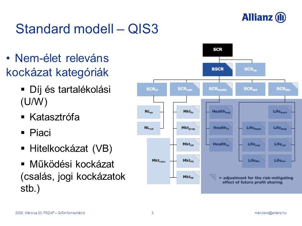 malicsko@allianz.hu2008. Március 20. PSZAF – QIS4 Konzultáció3 Standard modell – QIS3 Nem-élet releváns kockázat kategóriák  Díj és tartalékolási (U/