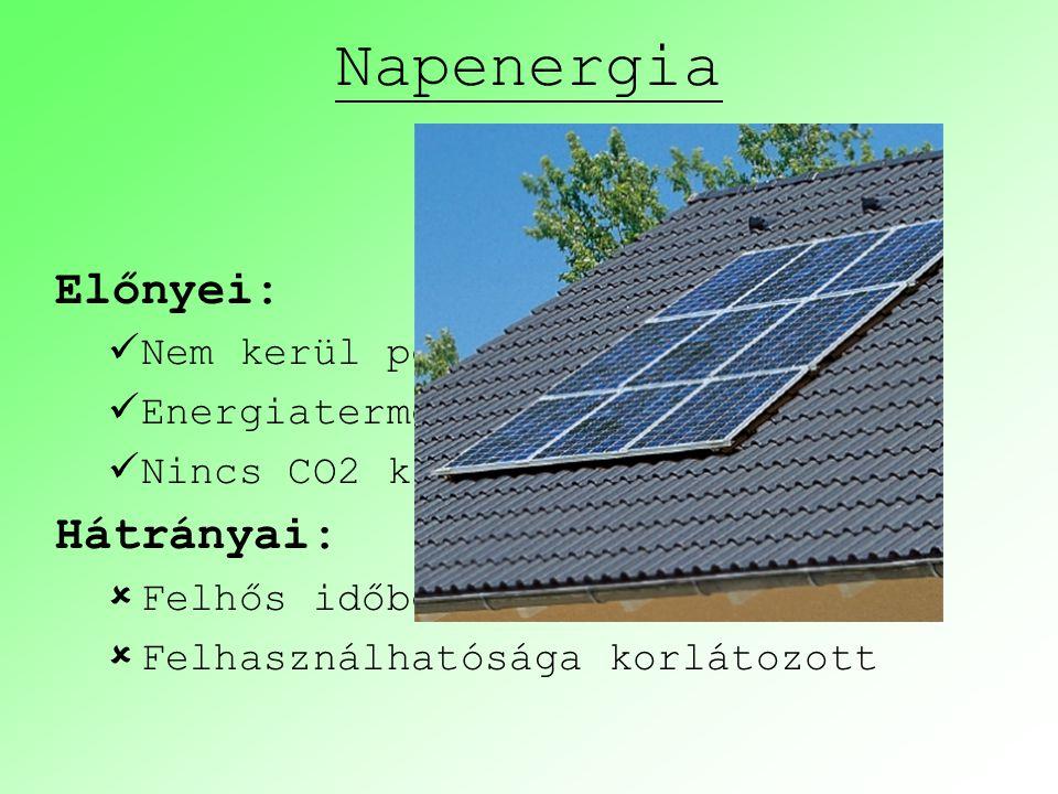 Napenergia Előnyei: Nem kerül pénzbe Energiatermelés a helyszínen Nincs CO2 kibocsátás Hátrányai:  Felhős időben kevésbé hatékony  Felhasználhatóság