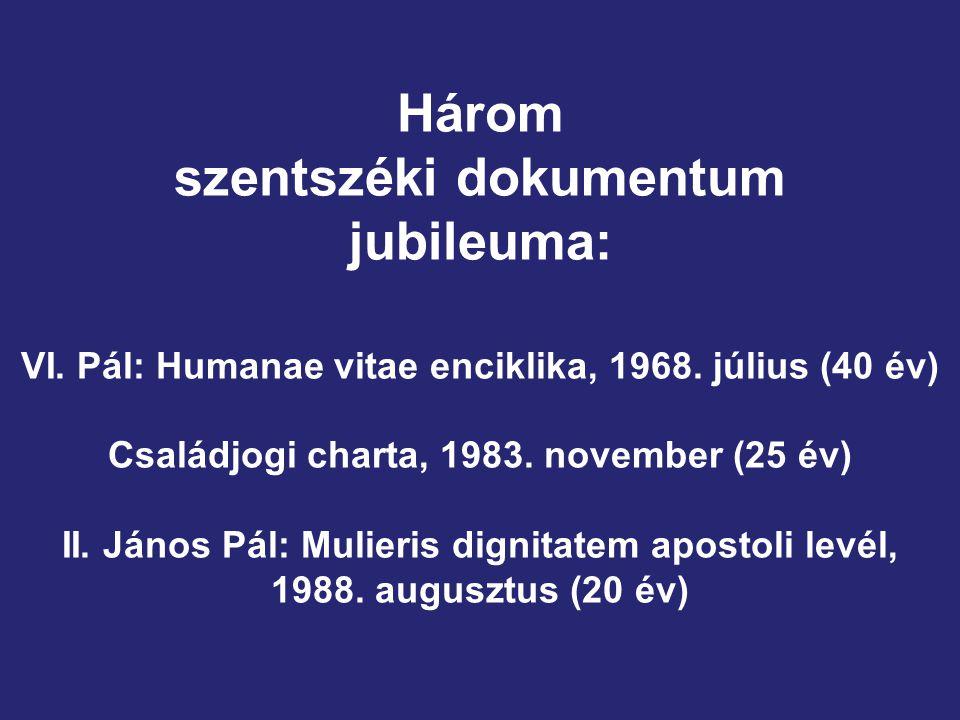 Három szentszéki dokumentum jubileuma: VI.Pál: Humanae vitae enciklika, 1968.