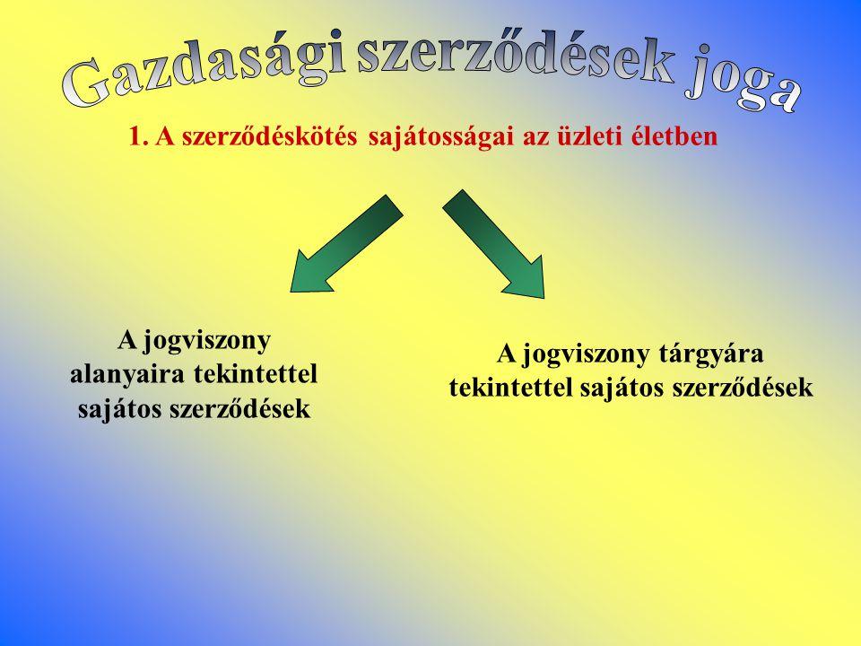 1. A szerződéskötés sajátosságai az üzleti életben A jogviszony alanyaira tekintettel sajátos szerződések A jogviszony tárgyára tekintettel sajátos sz