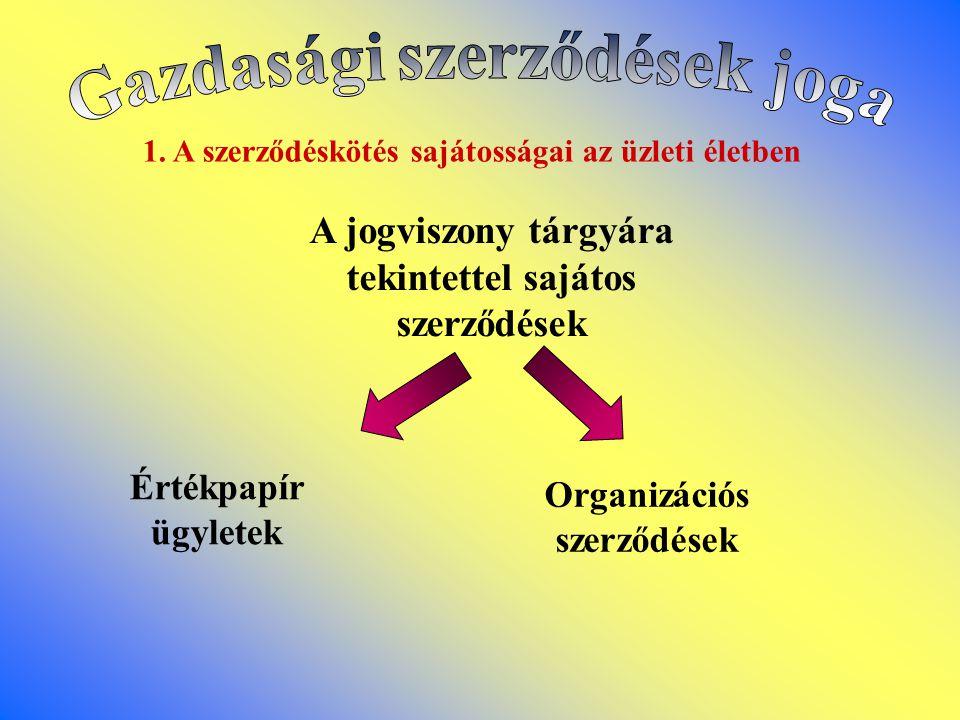 1. A szerződéskötés sajátosságai az üzleti életben A jogviszony tárgyára tekintettel sajátos szerződések Értékpapír ügyletek Organizációs szerződések