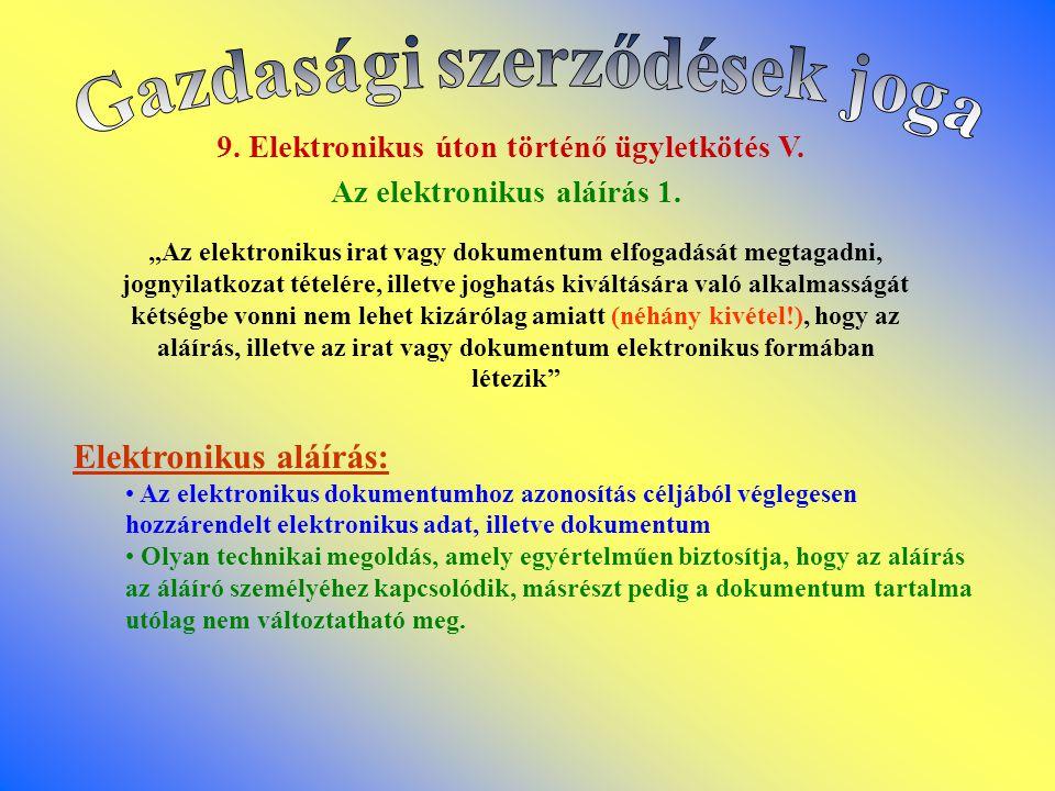 9.Elektronikus úton történő ügyletkötés V. Az elektronikus aláírás 1.
