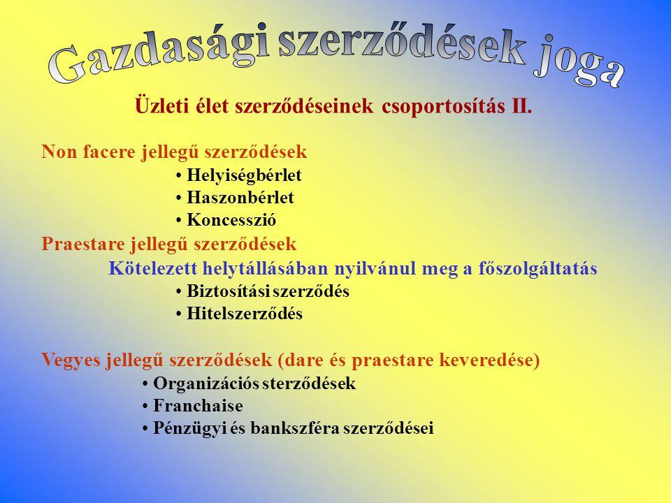 Üzleti élet szerződéseinek csoportosítás II.