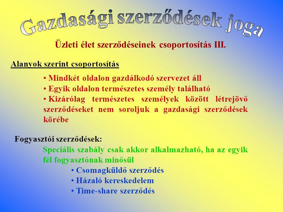 Üzleti élet szerződéseinek csoportosítás III.