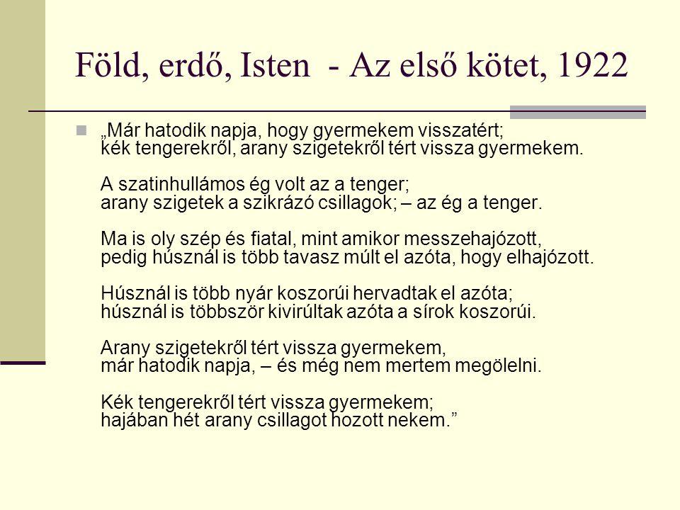 """Föld, erdő, Isten - Az első kötet, 1922 """"Már hatodik napja, hogy gyermekem visszatért; kék tengerekről, arany szigetekről tért vissza gyermekem."""