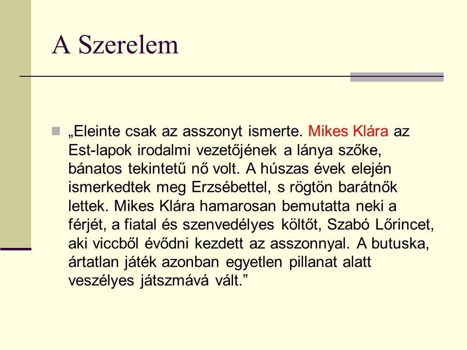 """A Szerelem """"Eleinte csak az asszonyt ismerte. Mikes Klára az Est-lapok irodalmi vezetőjének a lánya szőke, bánatos tekintetű nő volt. A húszas évek el"""