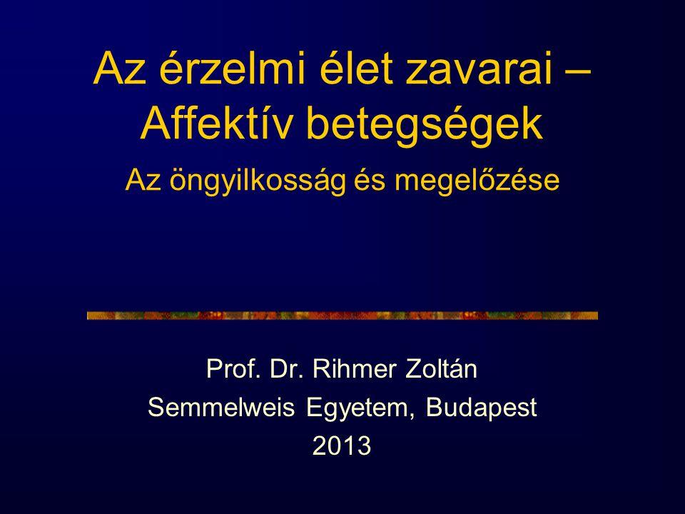 Az érzelmi élet zavarai – Affektív betegségek Az öngyilkosság és megelőzése Prof. Dr. Rihmer Zoltán Semmelweis Egyetem, Budapest 2013