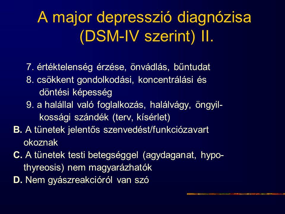 A major depresszió diagnózisa (DSM-IV szerint) II. 7. értéktelenség érzése, önvádlás, bűntudat 8. csökkent gondolkodási, koncentrálási és döntési képe