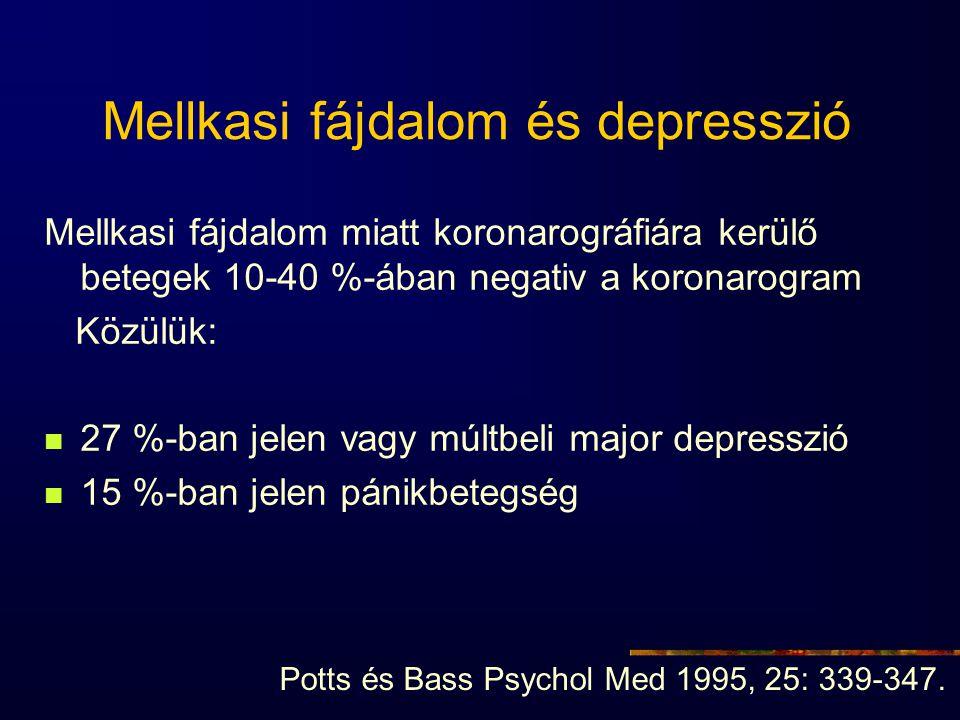 Mellkasi fájdalom és depresszió Mellkasi fájdalom miatt koronarográfiára kerülő betegek 10-40 %-ában negativ a koronarogram Közülük: 27 %-ban jelen va