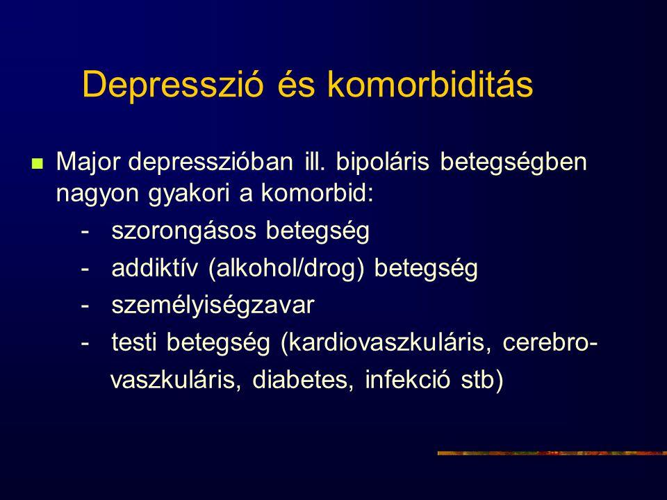 Depresszió és komorbiditás Major depresszióban ill. bipoláris betegségben nagyon gyakori a komorbid: - szorongásos betegség - addiktív (alkohol/drog)