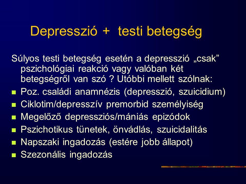 """Depresszió + testi betegség Súlyos testi betegség esetén a depresszió """"csak"""" pszichológiai reakció vagy valóban két betegségről van szó ? Utóbbi melle"""
