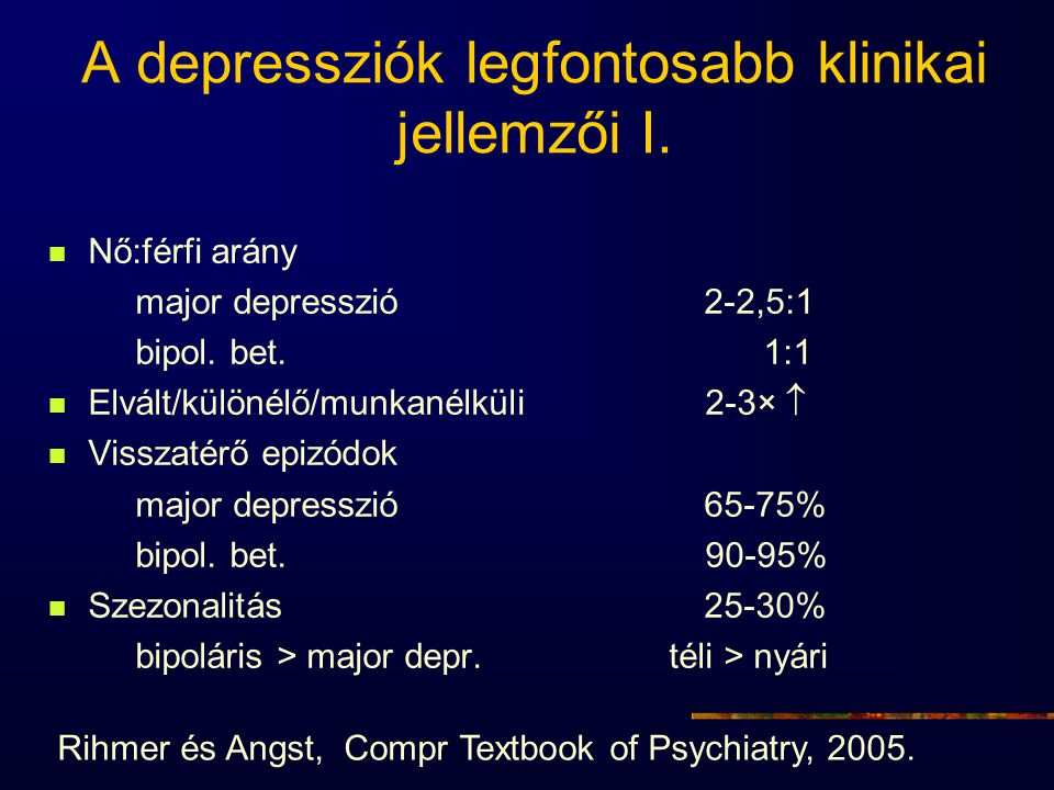 A depressziók legfontosabb klinikai jellemzői I. Nő:férfi arány major depresszió 2-2,5:1 bipol. bet. 1:1 Elvált/különélő/munkanélküli 2-3×  Visszatér