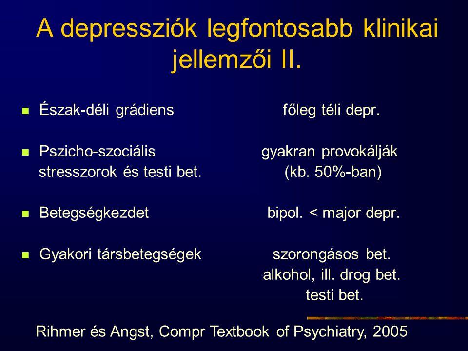 A depressziók legfontosabb klinikai jellemzői II. Észak-déli grádiens főleg téli depr. Pszicho-szociális gyakran provokálják stresszorok és testi bet.