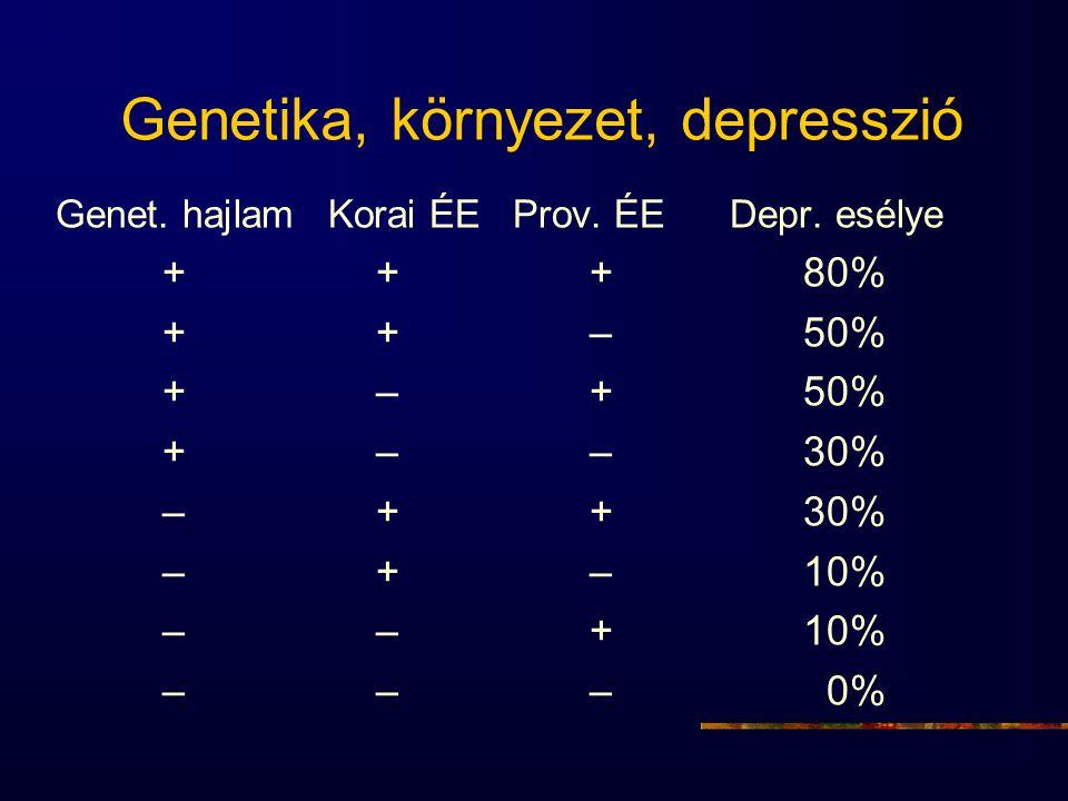 Genetika, környezet, depresszió Genet. hajlam Korai ÉE Prov. ÉE Depr. esélye +++80% ++–50% +–+50% +––30% –++30% –+–10% ––+10% ––– 0%