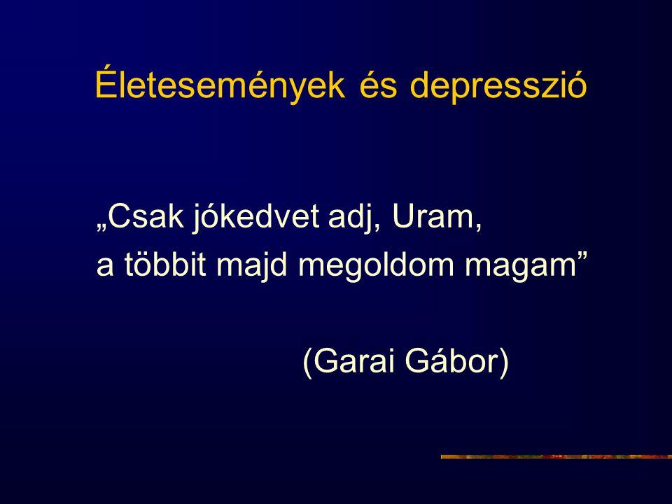 """Életesemények és depresszió """"Csak jókedvet adj, Uram, a többit majd megoldom magam"""" (Garai Gábor)"""