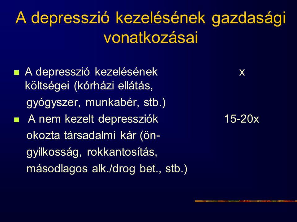 A depresszió kezelésének gazdasági vonatkozásai A depresszió kezelésének x költségei (kórházi ellátás, gyógyszer, munkabér, stb.) A nem kezelt depress