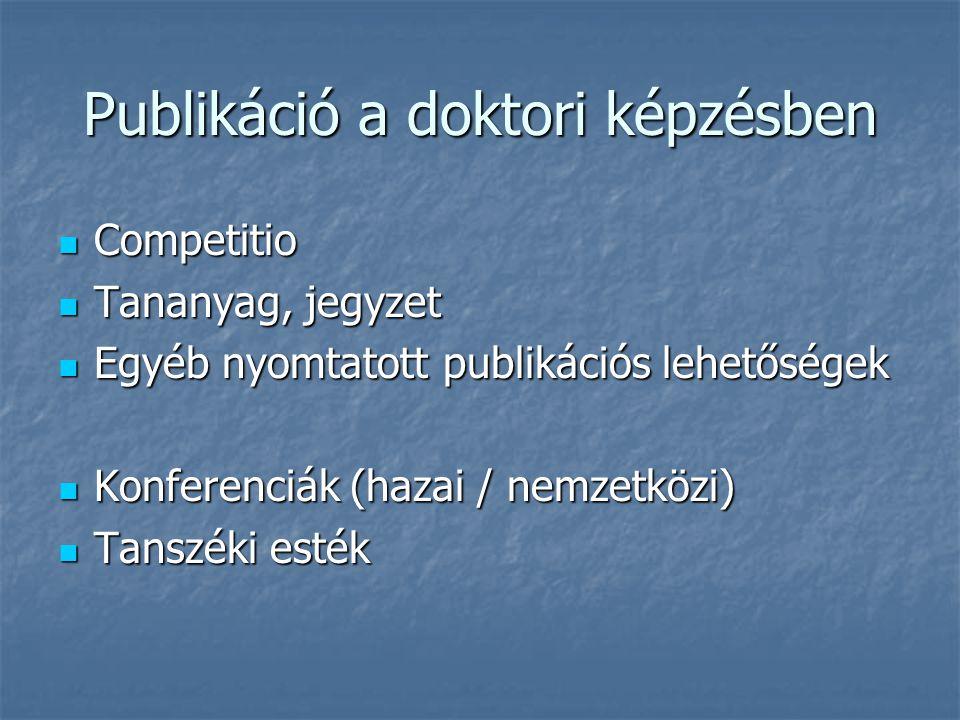Publikáció a doktori képzésben Competitio Competitio Tananyag, jegyzet Tananyag, jegyzet Egyéb nyomtatott publikációs lehetőségek Egyéb nyomtatott publikációs lehetőségek Konferenciák (hazai / nemzetközi) Konferenciák (hazai / nemzetközi) Tanszéki esték Tanszéki esték