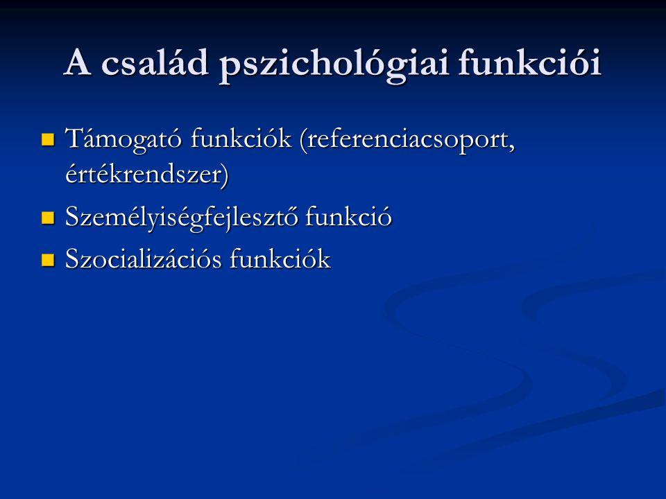 A család pszichológiai funkciói Támogató funkciók (referenciacsoport, értékrendszer) Támogató funkciók (referenciacsoport, értékrendszer) Személyiségf