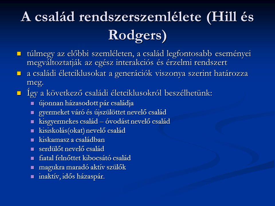 A család rendszerszemlélete (Hill és Rodgers) túlmegy az előbbi szemléleten, a család legfontosabb eseményei megváltoztatják az egész interakciós és é