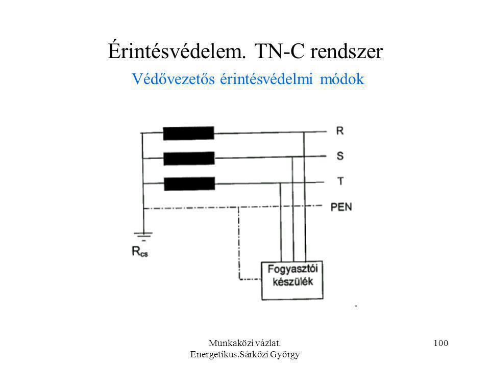 Munkaközi vázlat. Energetikus.Sárközi György 100 Érintésvédelem. TN-C rendszer Védővezetős érintésvédelmi módok