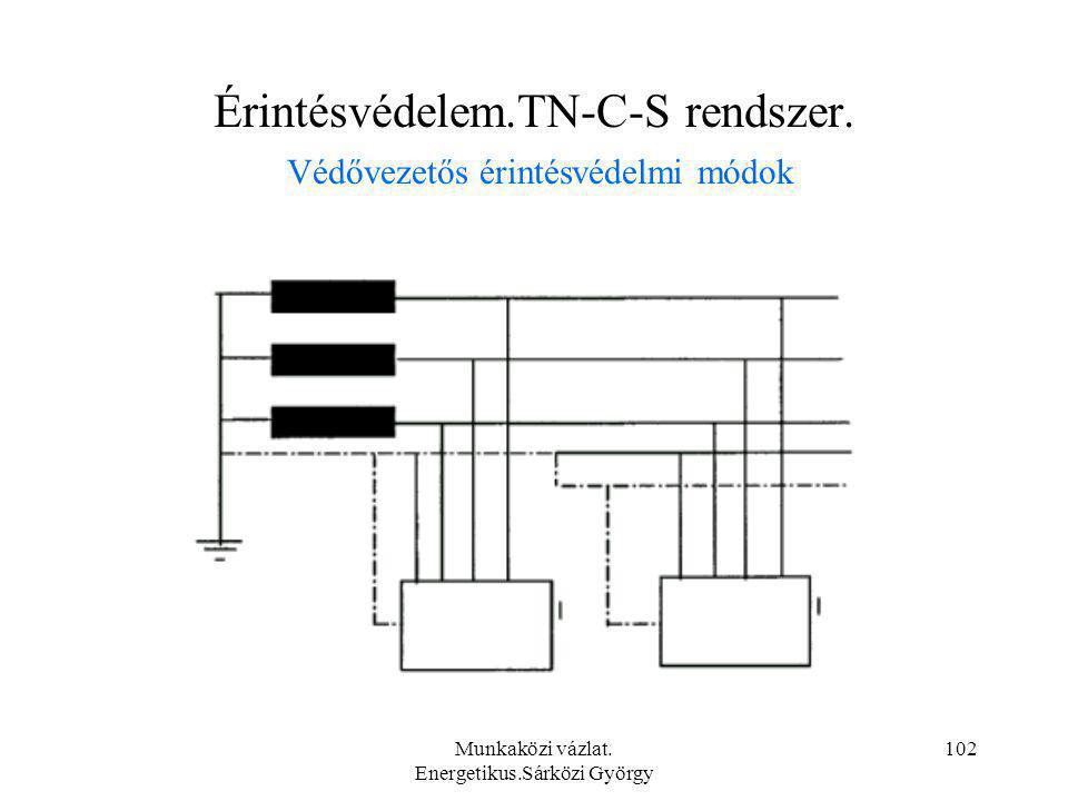 Munkaközi vázlat. Energetikus.Sárközi György 102 Érintésvédelem.TN-C-S rendszer. Védővezetős érintésvédelmi módok