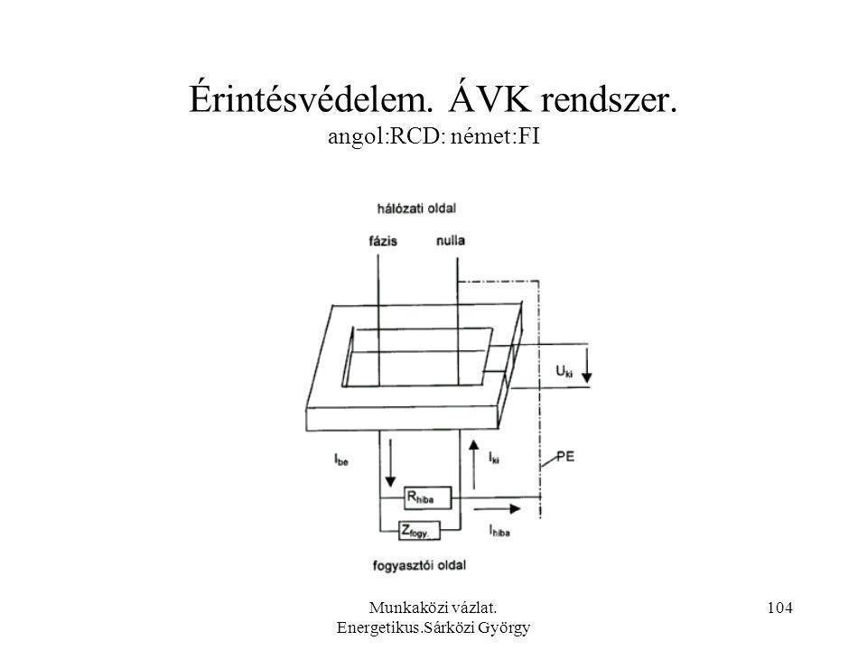 Munkaközi vázlat. Energetikus.Sárközi György 104 Érintésvédelem. ÁVK rendszer. angol:RCD: német:FI