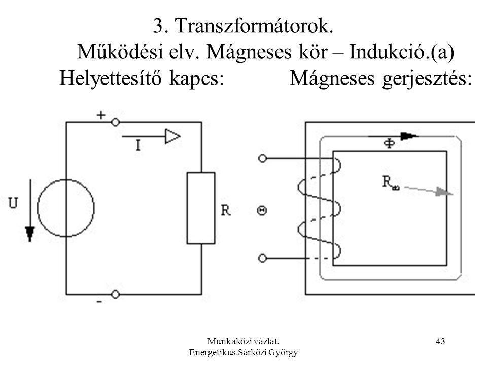 Munkaközi vázlat. Energetikus.Sárközi György 43 3. Transzformátorok. Működési elv. Mágneses kör – Indukció.(a) Helyettesítő kapcs: Mágneses gerjesztés