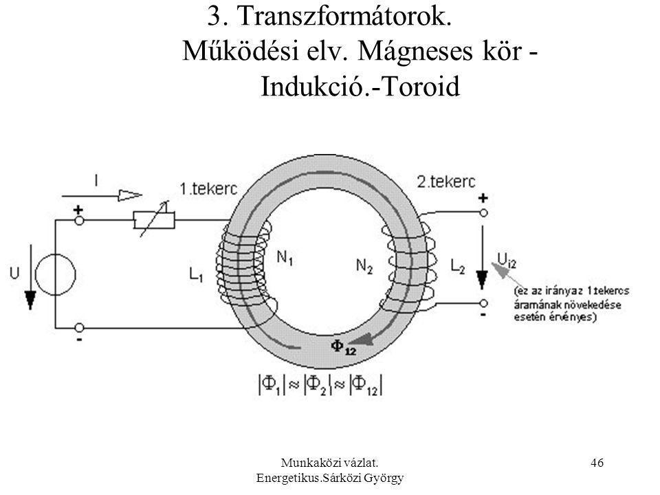 Munkaközi vázlat. Energetikus.Sárközi György 46 3. Transzformátorok. Működési elv. Mágneses kör - Indukció.-Toroid
