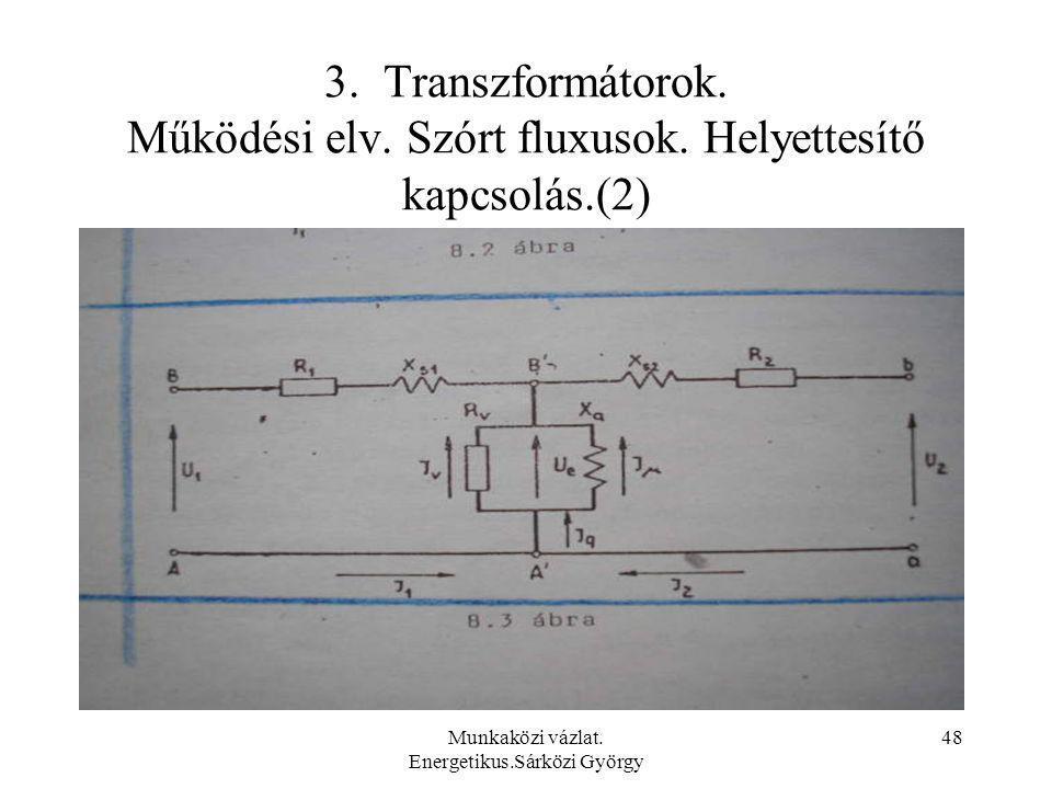 Munkaközi vázlat. Energetikus.Sárközi György 48 3. Transzformátorok. Működési elv. Szórt fluxusok. Helyettesítő kapcsolás.(2)