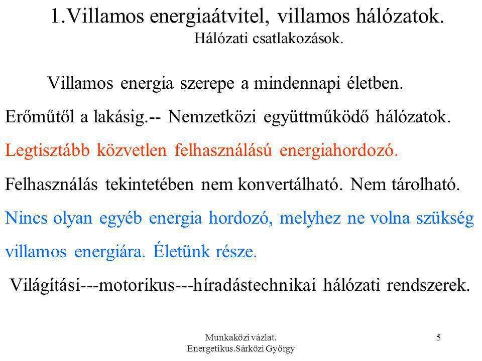 Munkaközi vázlat.Energetikus.Sárközi György 6 1.Villamos energiaátvitel, villamos hálózatok.