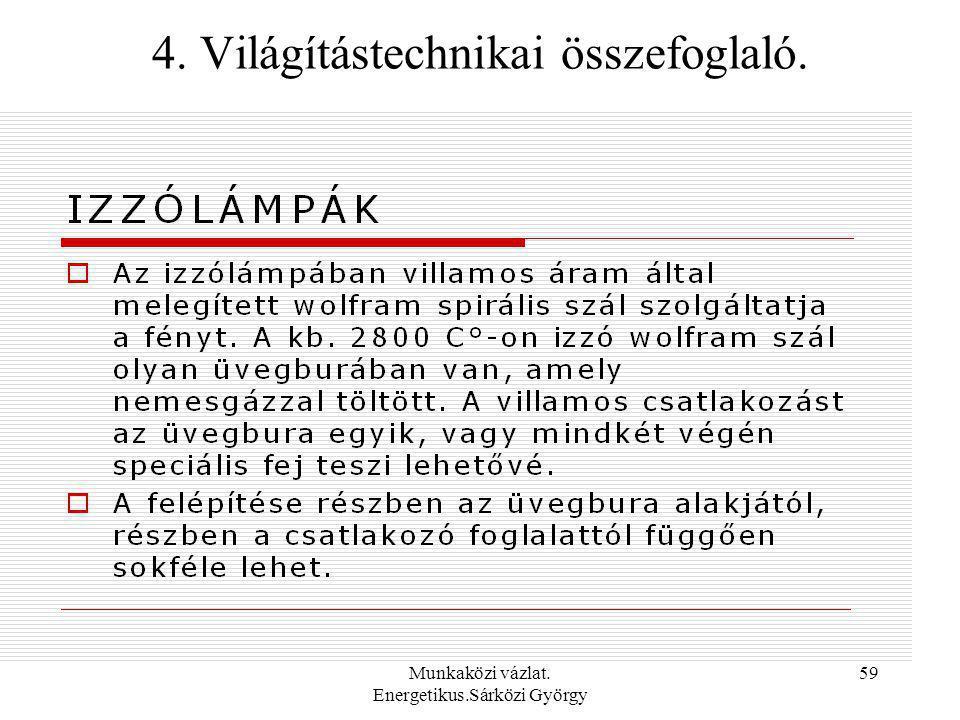 Munkaközi vázlat. Energetikus.Sárközi György 59 4. Világítástechnikai összefoglaló.