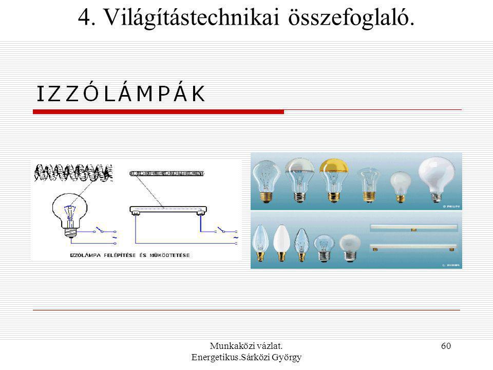 Munkaközi vázlat. Energetikus.Sárközi György 60 4. Világítástechnikai összefoglaló.