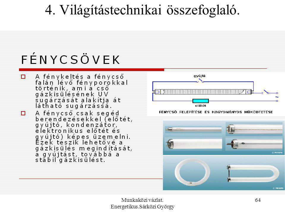 Munkaközi vázlat. Energetikus.Sárközi György 64 4. Világítástechnikai összefoglaló.