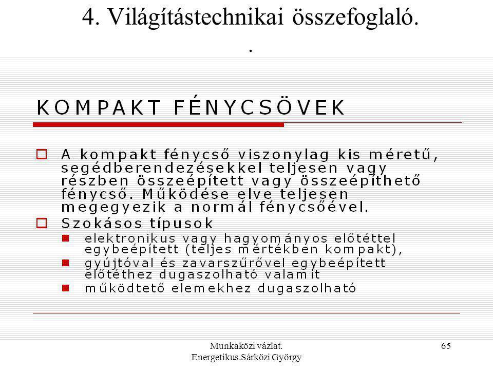 Munkaközi vázlat. Energetikus.Sárközi György 65 4. Világítástechnikai összefoglaló..