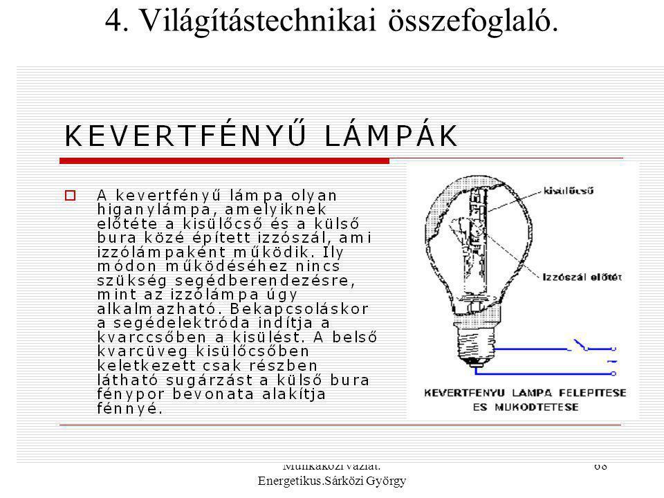 Munkaközi vázlat. Energetikus.Sárközi György 68 4. Világítástechnikai összefoglaló.