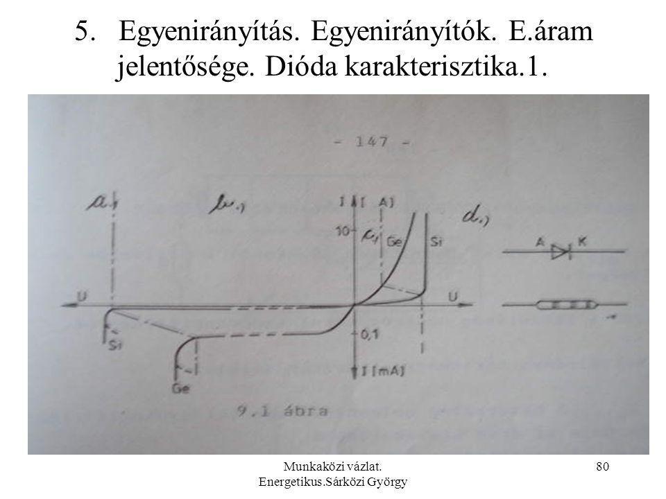 Munkaközi vázlat. Energetikus.Sárközi György 80 5. Egyenirányítás. Egyenirányítók. E.áram jelentősége. Dióda karakterisztika.1.