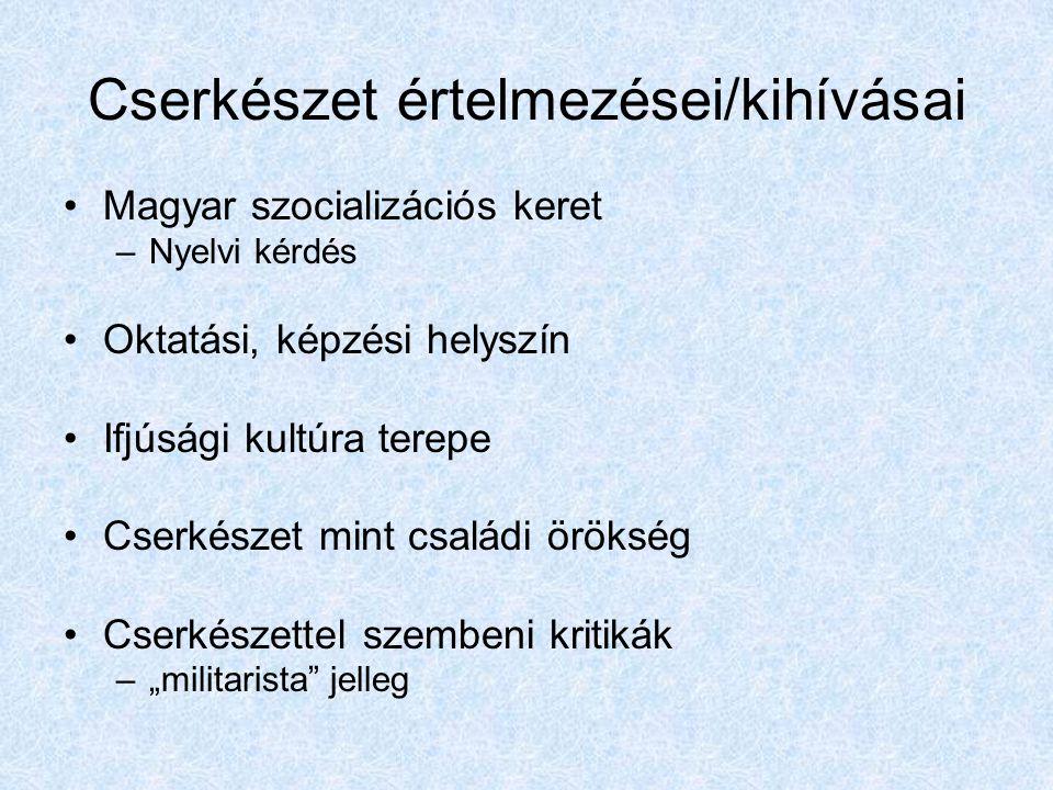 Cserkészet értelmezései/kihívásai Magyar szocializációs keret –Nyelvi kérdés Oktatási, képzési helyszín Ifjúsági kultúra terepe Cserkészet mint család