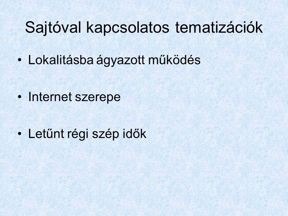 Sajtóval kapcsolatos tematizációk Lokalitásba ágyazott működés Internet szerepe Letűnt régi szép idők