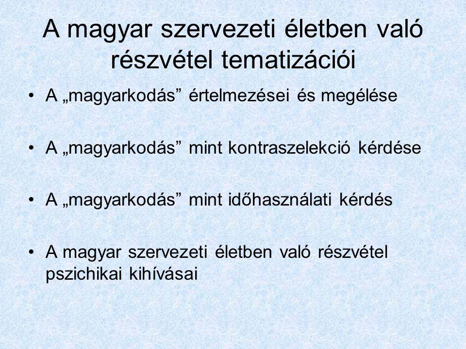 """A magyar szervezeti életben való részvétel tematizációi A """"magyarkodás értelmezései és megélése A """"magyarkodás mint kontraszelekció kérdése A """"magyarkodás mint időhasználati kérdés A magyar szervezeti életben való részvétel pszichikai kihívásai"""