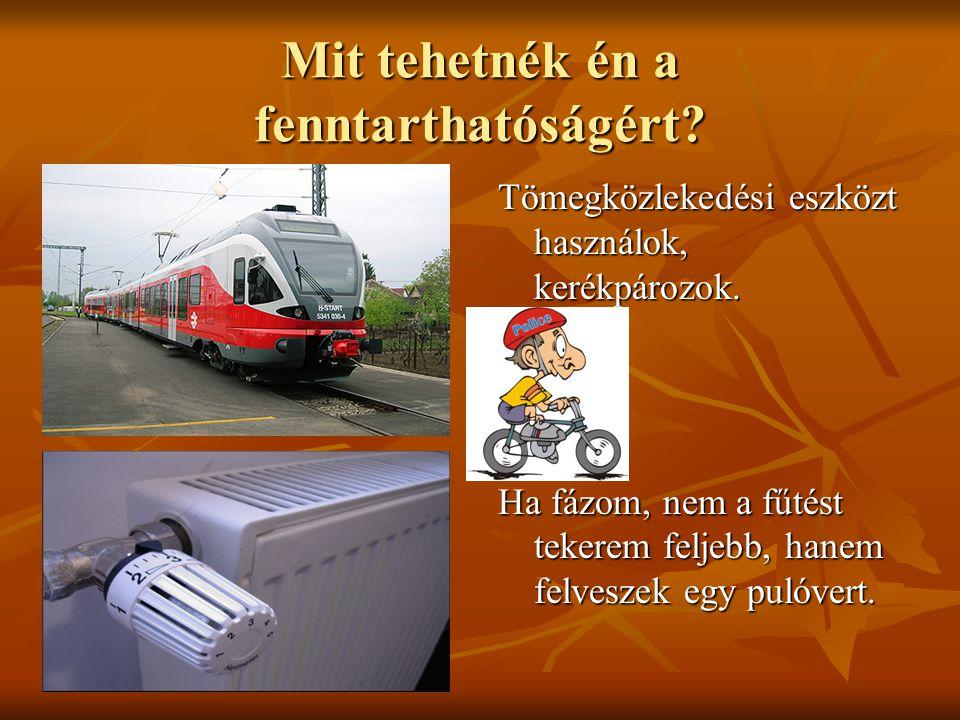 Mit tehetnék én a fenntarthatóságért? Tömegközlekedési eszközt használok, kerékpározok. Ha fázom, nem a fűtést tekerem feljebb, hanem felveszek egy pu