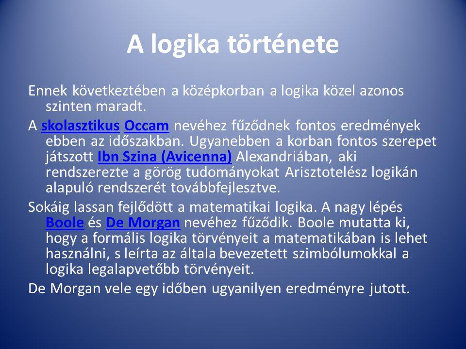 A logika története Ennek következtében a középkorban a logika közel azonos szinten maradt. A skolasztikus Occam nevéhez fűződnek fontos eredmények ebb